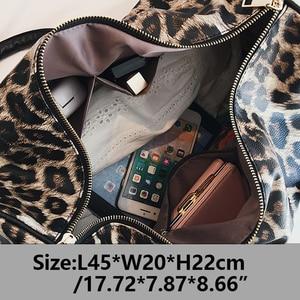 Image 2 - Outdoor PU Leather Sports Gym Bag Women Men Training Fitness Crossbody Shoulder Bag Leopard Print Travel Yoga Handbag