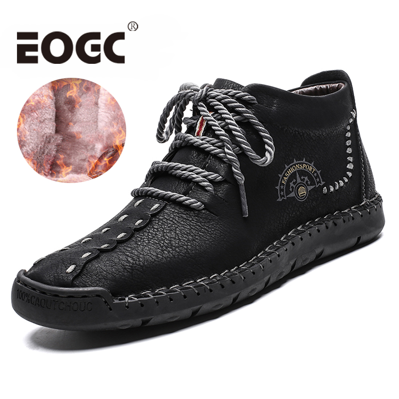 Hot Sale Winter Men Boots With Fur Snow Boots Men Lace Up Waterproof Footwear Male Casual Men Shoes Outdoor Ankle Boots Big Size