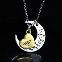 2020 heart pendant necklace jewelry i love you to the moon alloy custom mom necklaces for women mother day gift fashion necklace недорого