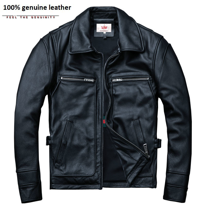 Brand Amekaji Motor Biker Style Men Leather Jacket Black Red Brown Cowhide Vintage Jackets Men Winter Coat 5XL M100
