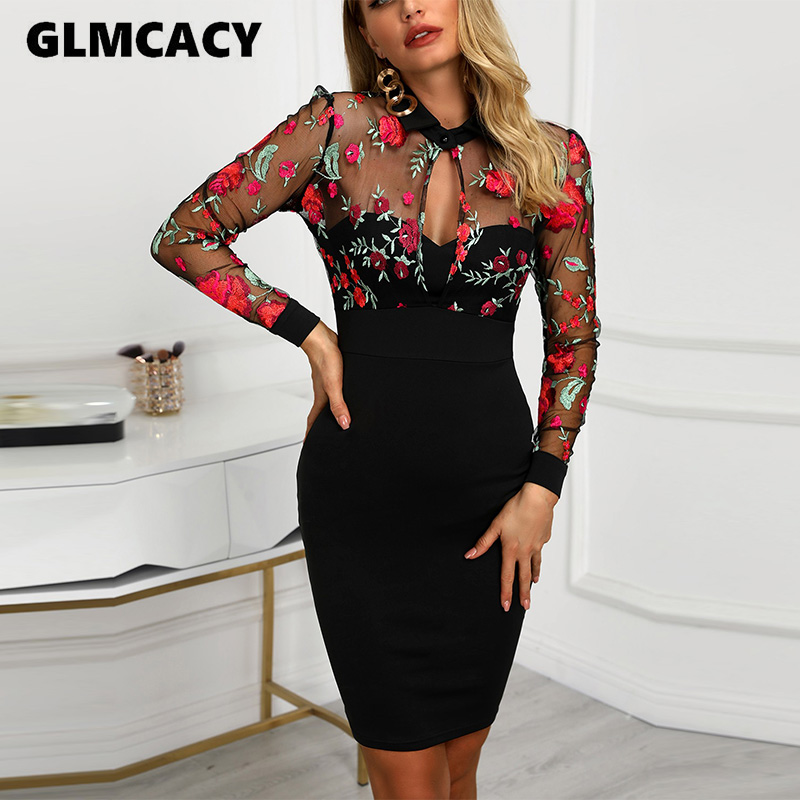 Women Sheer Mesh Floral Embroidery Bodycon Dress Lace Mesh Evening Party Midi Dress Sexy Elegant Vestidos
