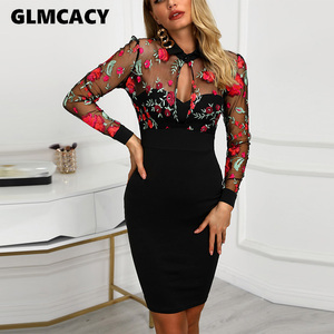 Women Sheer Mesh Floral Embroidery Bodycon Dress Lace Mesh Evening Party Midi Dress Sexy Elegant Vestidos(China)