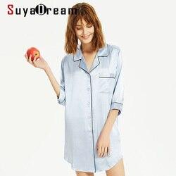 SuyaDream Frauen Seide Sleepdress 19mm 100% Echte Seide Sexy Mini Shirt Schlaf Kleid 2020 Drehen Unten Kragen Nightgrowns Solide nachtwäsche