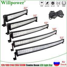 цена на Car Roof 22/32/42/50/52 inch Curved LED Work Light Bar Offroad 4x4 4WD Truck UTV SUV Fog Lights Bumper Driving Lamp 120-240 300W