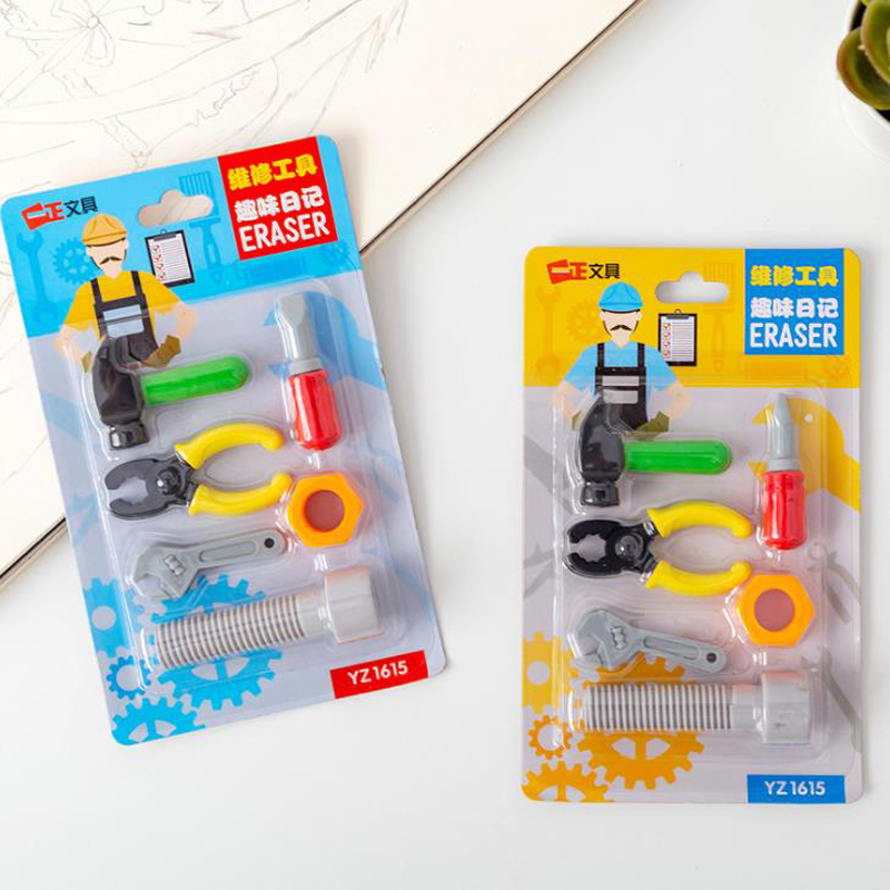 6 Pcs/pack Cartoon Repair Tools Screw Hammer Rubber Pencil Erasers Stationery Student Primary School Gifts Supplies