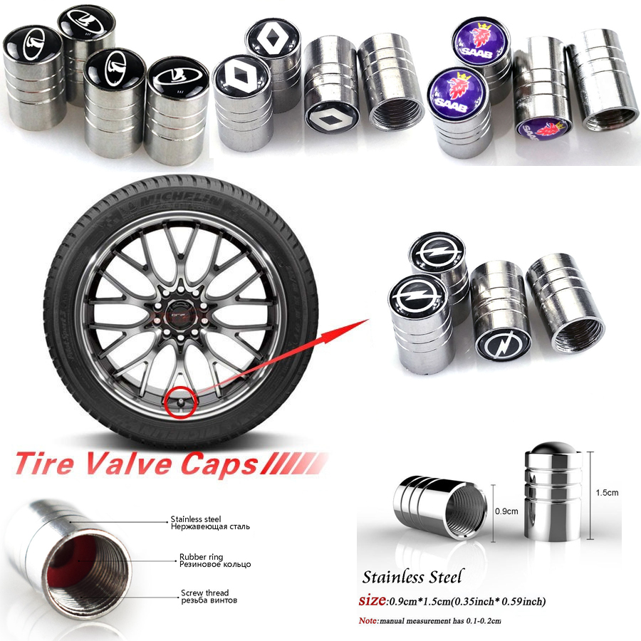 1Set Car 3D Metal Wheel Tire Valve Caps Stem Case Car-styling For Renault Opel Benz Bmw Ford Mitsubishi Toyota Car Accessories