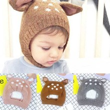 New Fashion Children Winter Neck Warmer Caps Baby Hat Cartoon Style Ear Crochet Knitted