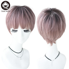 7JHH 2 Tone Ombre Pink Short Ramy Hair With Bangs Lolita Wig For Women Fashion Refined Christmas Heat Resistant Synthetic Wig