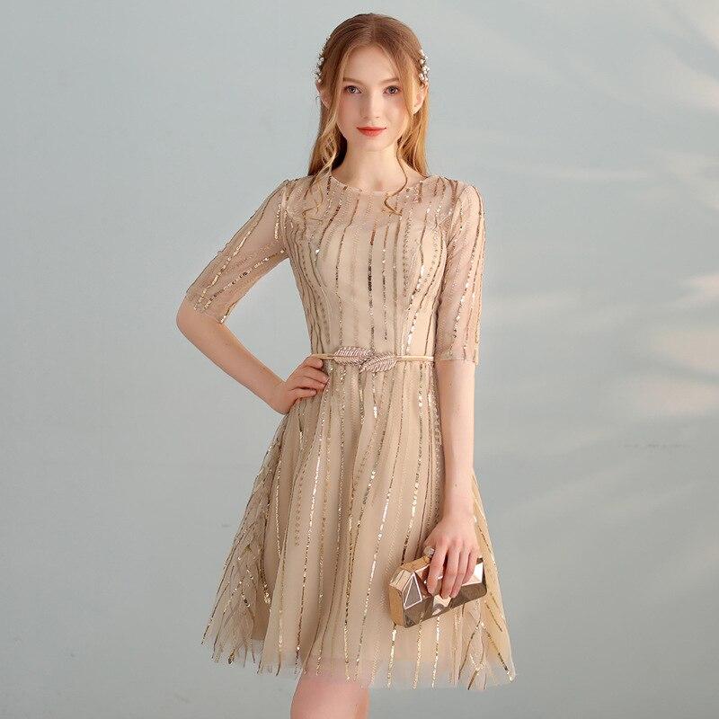 Cocktail Dress O-Neck Fashion Designer Elegant Short Cocktail Gowns Bling Sequined Slim Half-sleeve Robe De Soiree 2019 LX324