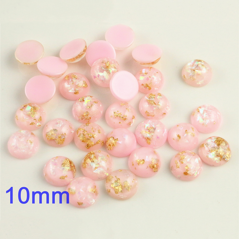 New Fashion 10mm 40pcs/Lot Pink Color Built-in Metal Foil Flat Back Resin Cabochons Cameo V7-21