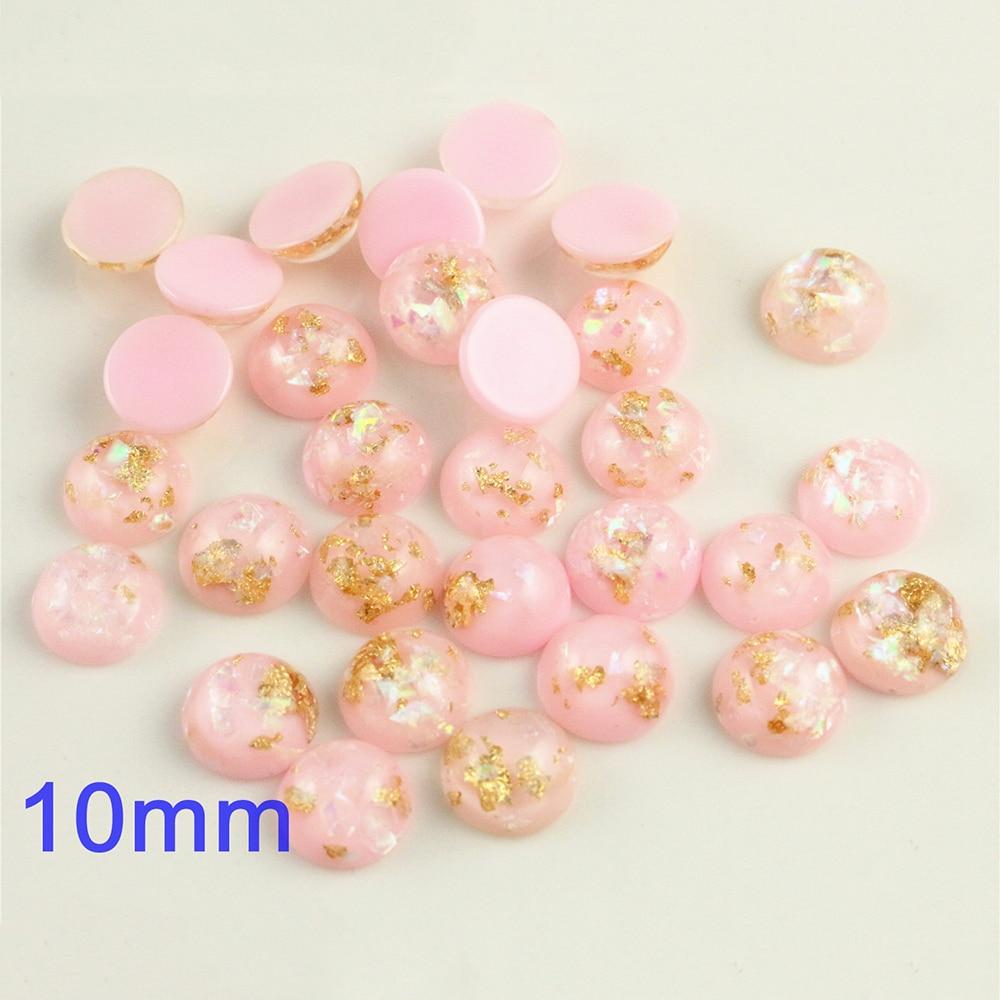 New Fashion 10mm 40pcs/Lot Pink Color Built-in Metal Foil Flat Back Resin Cabochons Cameo V7-21