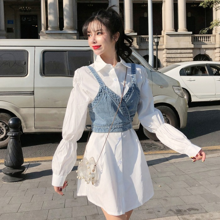 Spring Women Long White Shirts Two Pieces Set Femme Sweet Denim Camis Women Long White Tops