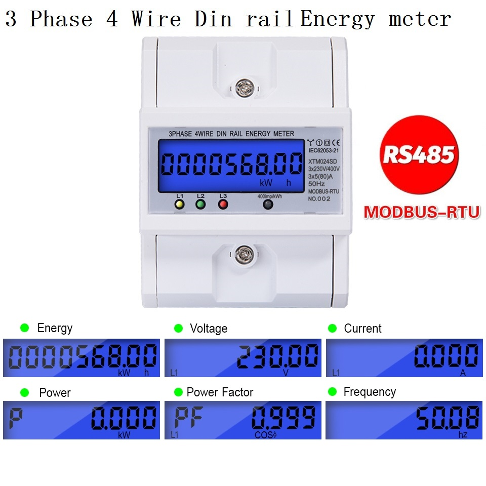 RS485 Multifunctional 3 Phase 4 Wire Electronic Wattmeter Power Consumption Energy Meter 5-80A 380V AC 50Hz Backlight  Modbus