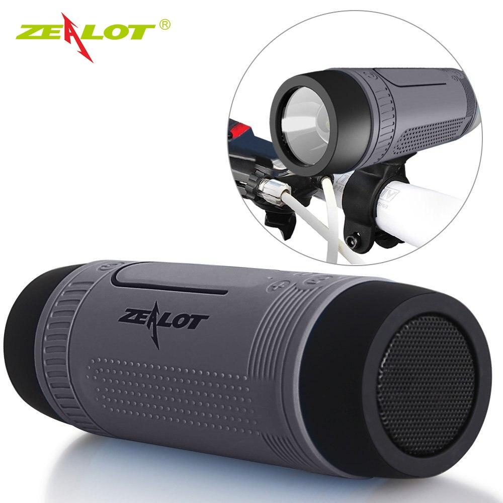 Haut-parleur sans fil de vélo de haut-parleur portatif de Bluetooth de zélot S1 + Radio fm extérieure imperméable Boombox soutiennent la carte de TF, AUX, lampe de poche
