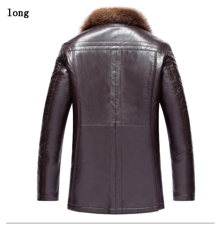 Mens Leather Jacket 2020 Winter Luxury Raccoon Fur Coat Men Second Layer Sheepskin Leather Jacket Parka Plus Size LX2406