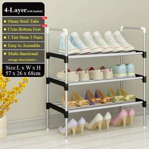 Image 3 - Range chaussures en métal facile à monter, étagère de rangement pour chaussures, baskets, support Portable peu encombrant, organiseur de chaussures avec main courante
