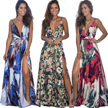 9 Colors Women Maxi Dress High Slit Sleeveless V Neck Summer Dress Beach Holiday Casual Long Dress eDressU LQ-2301 high slit long sleeveless cami dress