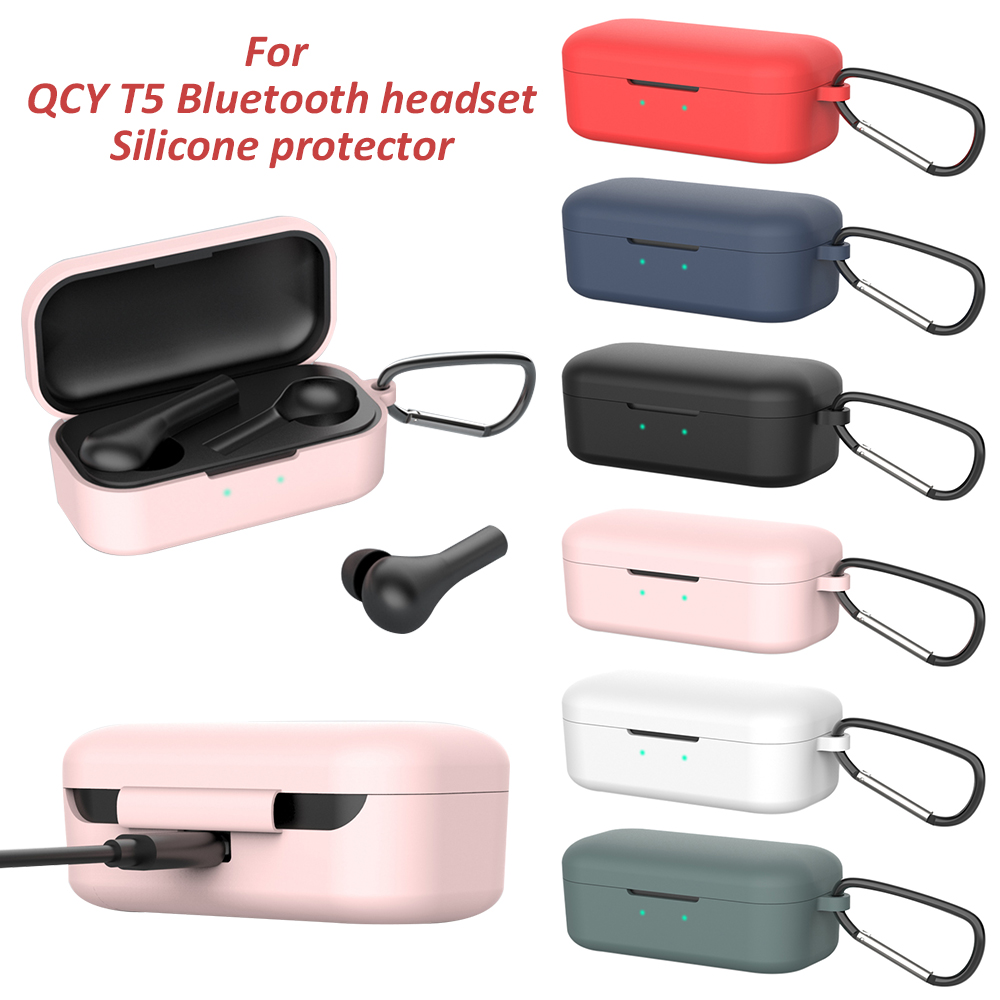 Silicone Case For QCY T5 Wireless Bluetooth Headset Portable Protective Case With Anti-lost Buckle Headset Accessories