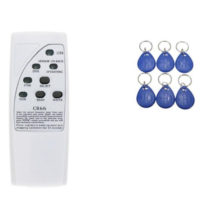 Lector de tarjetas Rfid portátil escritor 125KHz copiadora duplicadora ID etiquetas programador con luz indicadora clave replicador de tarjeta ID Coche Lector de fotocopiadora de tarjetas RFID NFC, duplicador inglés, programador de frecuencia 10 para tarjetas de ID IC y todas las tarjetas 125kHz + 5 uds. ID 125k