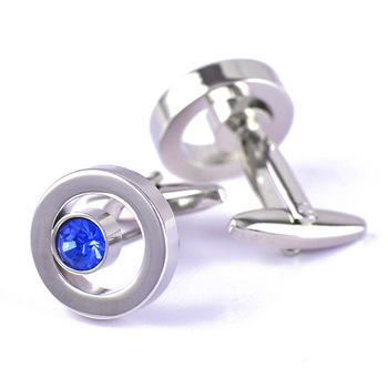 French High Grade Metal Blue Crystal Cuff Links 4