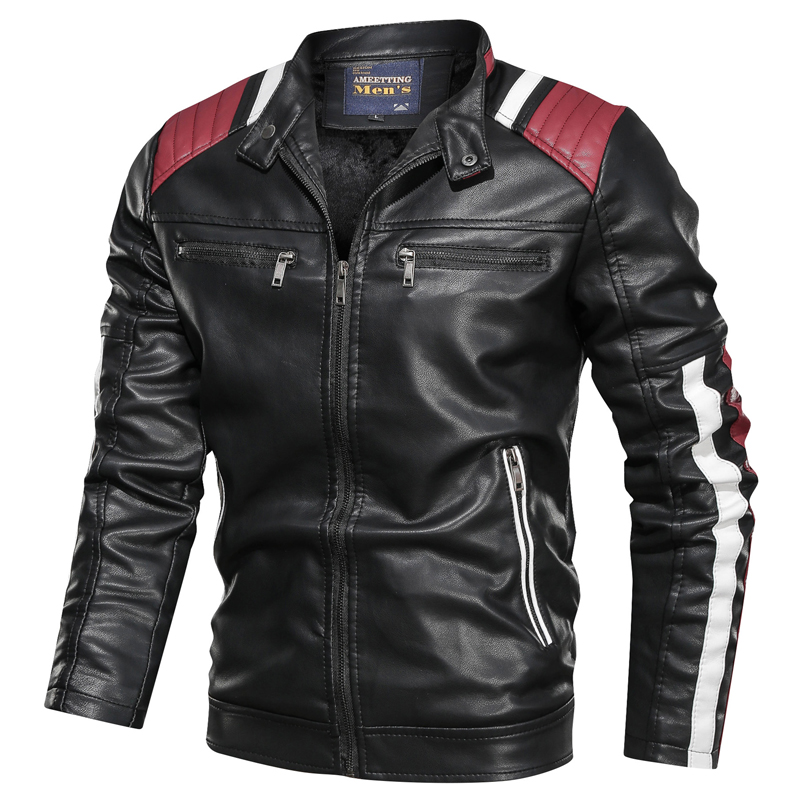 2019 New Design Leather Jacket Motorcycle PU Bomber Men Stand Collar Autumn Slim Fit Male Leather Jacket Coats PU Simple Fashion