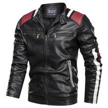 2019 חדש עיצוב עור מעיל אופנוע PU מפציץ גברים צווארון עומד סתיו Slim fit זכר עור מעיל מעילי PU פשוט אופנה