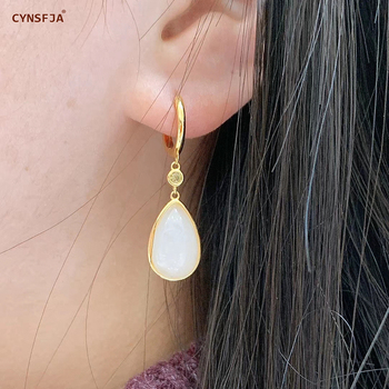 CYNSFJA New Real Certified Natural Hetian Jade 925 Sterling Silver Amulets Lucky White Jade Earrings High Quality Best Gifts