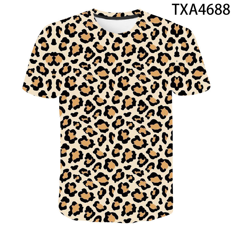 Leopard Print T Shirt Men Women Children Funny Animal Fur T-shirt Camiseta 3D Printed Casual Fitness Tees Tops Boy Girl Clothing