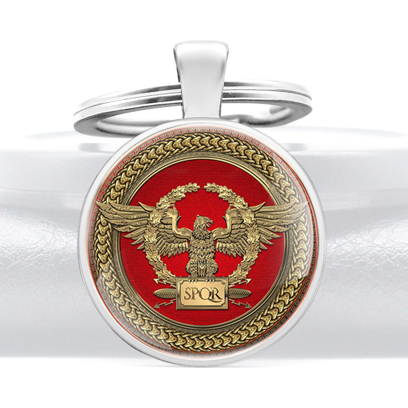New Arrival  Roman Empire SPQR Design Vintage Glass Dome Keychains Men Women Keyring Jewelry Gifts