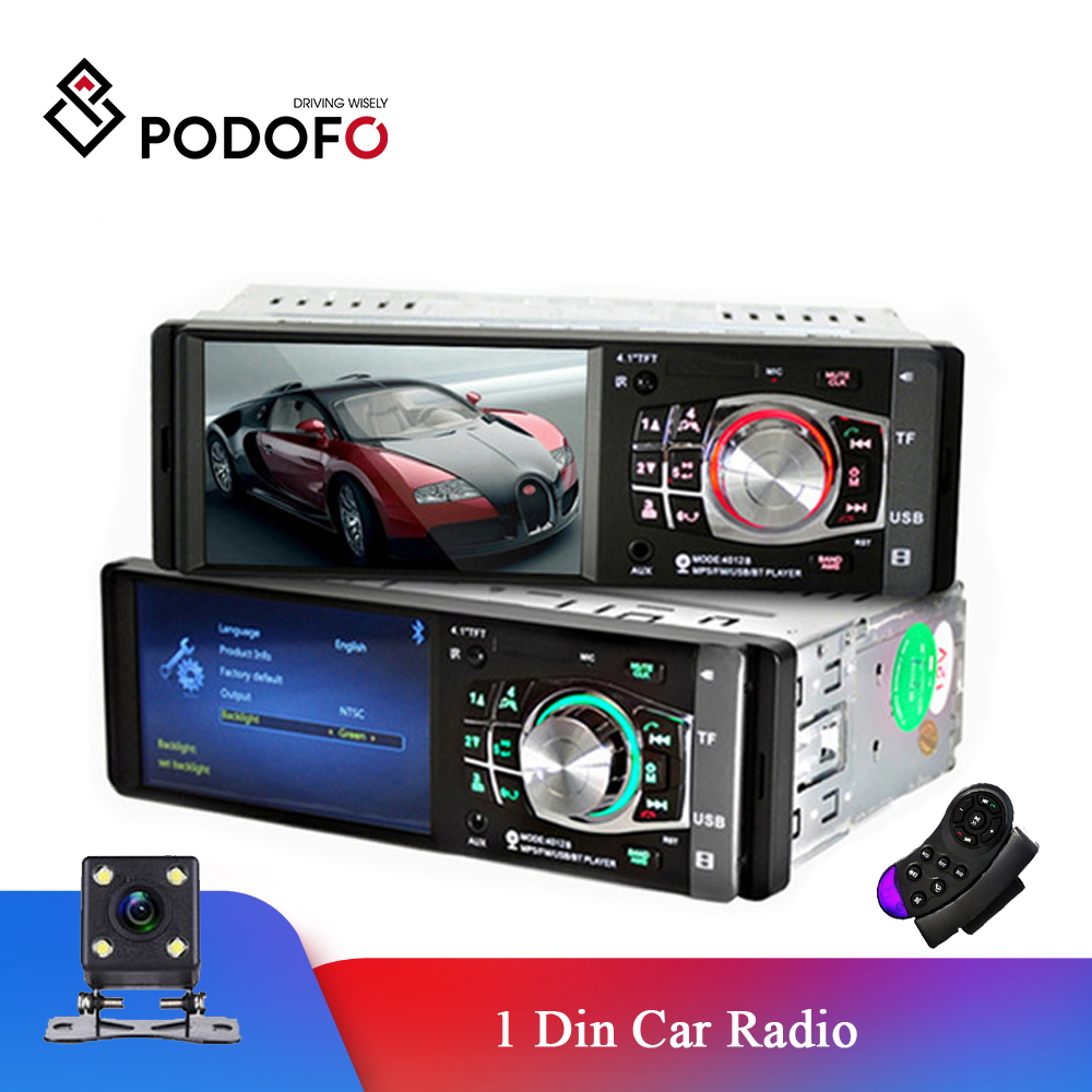 Podofo 1 Din autoradio Auto 4.1 ''HD voiture lecteur multimédia MP3 MP5 Audio stéréo radio Bluetooth FM télécommande lecteur vidéo