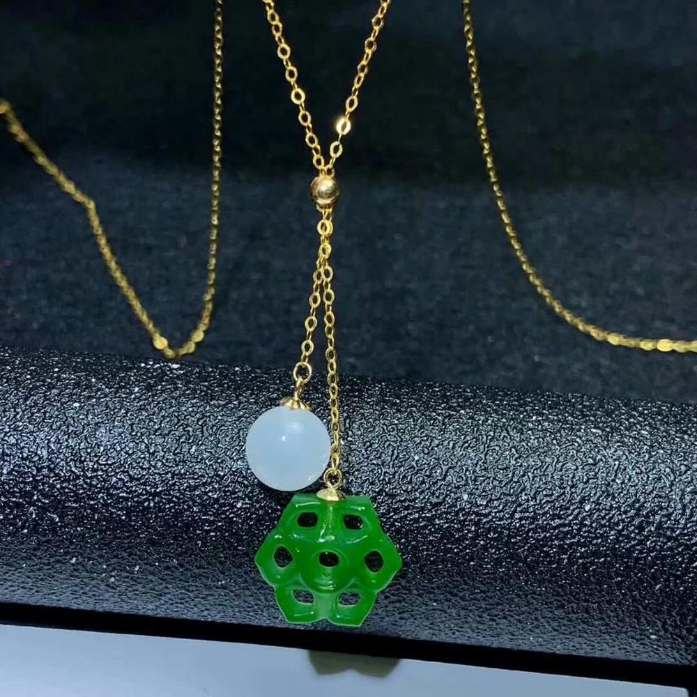 SHILOVEM 18k or jaune naturel vert Jasper pendentifs classique bijoux fins femmes mariage nouvelle plante mymz14140808hby
