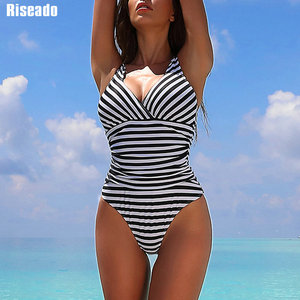 Image 1 - Riseado Striped One Piece Swimsuit 2020 Ruched Swimwear Women Warp V neck Swim Wear One piece Sexy Bathing Suits Women
