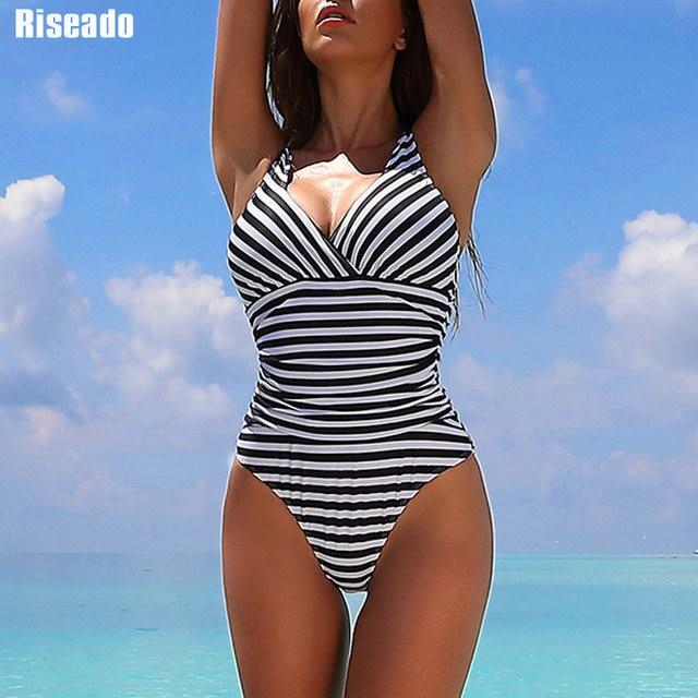 Riseado Striped One Piece Swimsuit 2020 Ruched Swimwear Women Warp V neck Swim Wear One piece Sexy Bathing Suits Women
