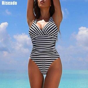 Image 1 - Riseado paski jednoczęściowy strój kąpielowy 2020 Ruched stroje kąpielowe kobiety Warp V neck strój kąpielowy jednoczęściowy Sexy kostiumy kąpielowe kobiet