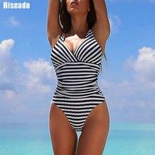 Женский полосатый слитный купальник Riseado, купальный костюм с рюшами и V образным вырезом, слитный пикантный купальный костюм для женщин, 2020
