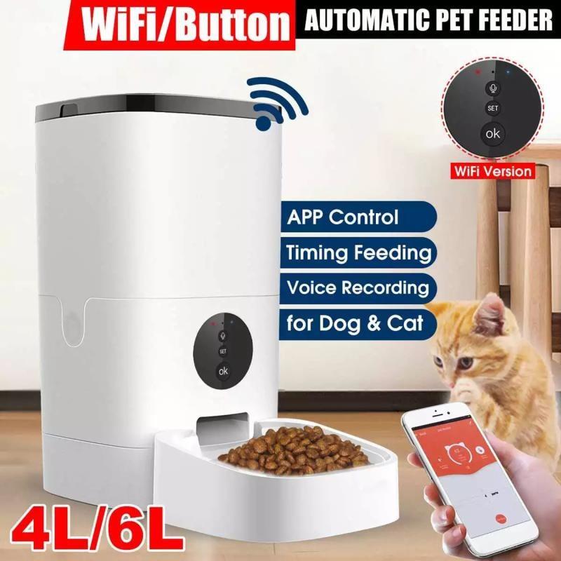 4/6LWifi Video Version Pet Automatic Feeder Device Smart Pet Food Dispenser APP Control Voice Recording Timing Dog Cat Food Bowl