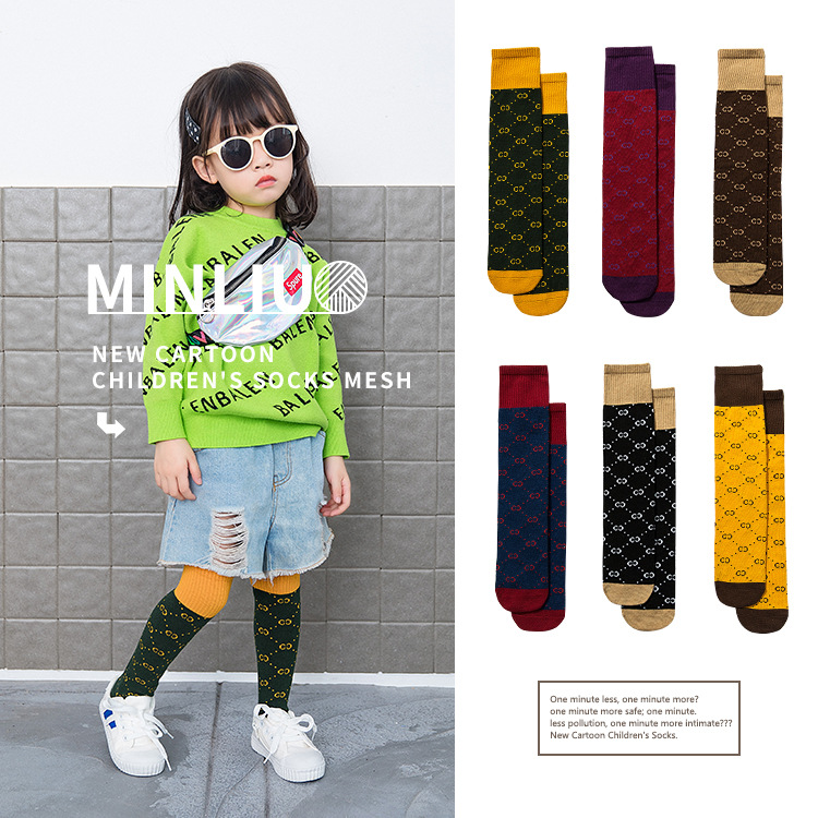 2019 Spring And Autumn New Products Hot Selling Popular Brand Medeum Hight CHILDREN'S Socks Over-the-Knee Men And Women Candy Ba