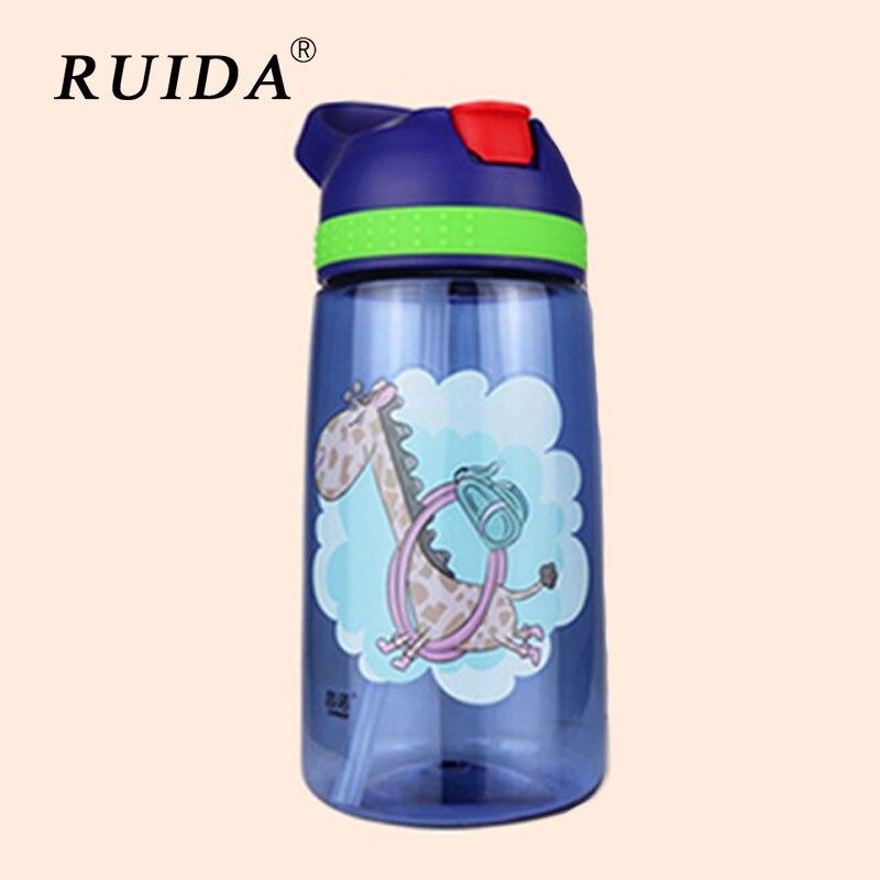450ml Creative Cartoon Kids Water Bottle with Straw Children's Water Bottles Portable Plastic Outdoor Travel Sport Drinking Pot