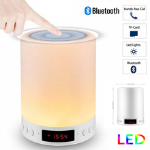 Night Light with Bluetooth Speaker Portable Wireless TF Card Bluetooth Speaker Touch Control Color LED Bedside Table Lamp clock