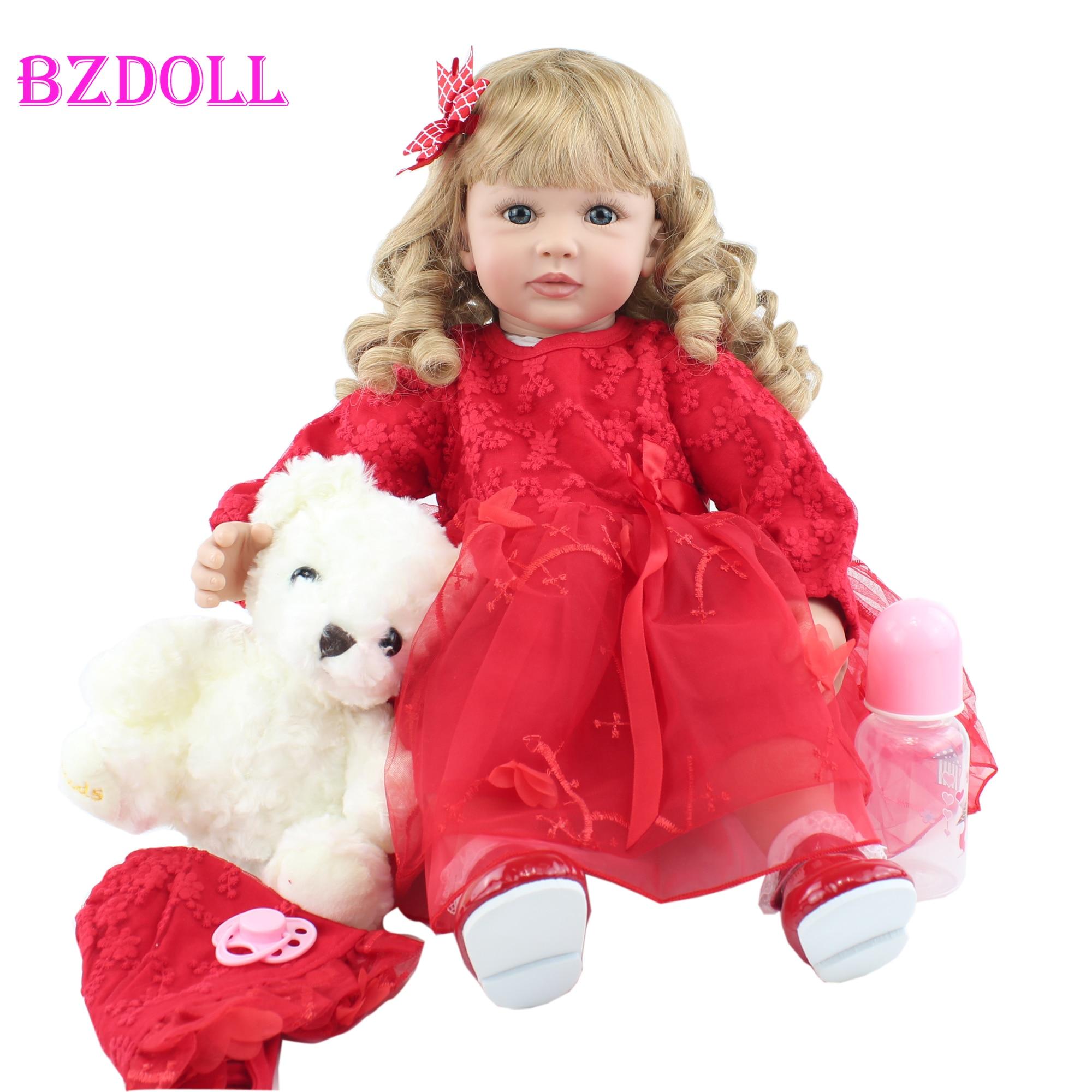 Bzodol – poupée en Silicone souple de 60cm, cheveux longs blonds, princesse Viny Boneca, joli cadeau danniversaire pour fille, jouet maison de jeu