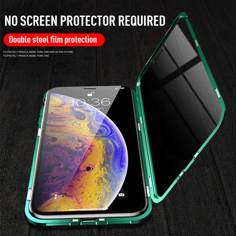 Анти-глазок встроенный металлический магнитный чехол для huawei P30 Pro закаленное стекло двойной боковой Стекло, Не доставая его из чехла honor 9X Nova 5 5Pro чехол для телефона