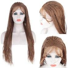 Charisma коричневый длинный микро косички синтетический кружевной передний парик для женщин термостойкий предварительно сорванный Плетеный парик с детскими волосами