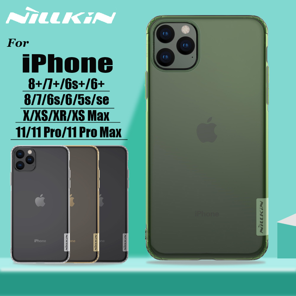 Para iphone 11 11 pro max x xs xr case nillkin claro macio silicone tpu phone back cover case para iphone 8 7 6 s 6 plus 5S se 2020