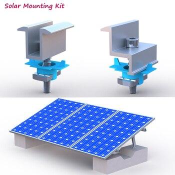Clip de aluminio de montaje Solar para sistema de energía Solar, rieles de montaje de acero tipo C U, 10 Uds. 1