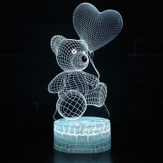 Lámpara de mesita de noche de chico luz de noche LED 3D creativa lámpara de noche Oso De corazón romántico Luz De chico s Gril decoración del hogar regalo D30