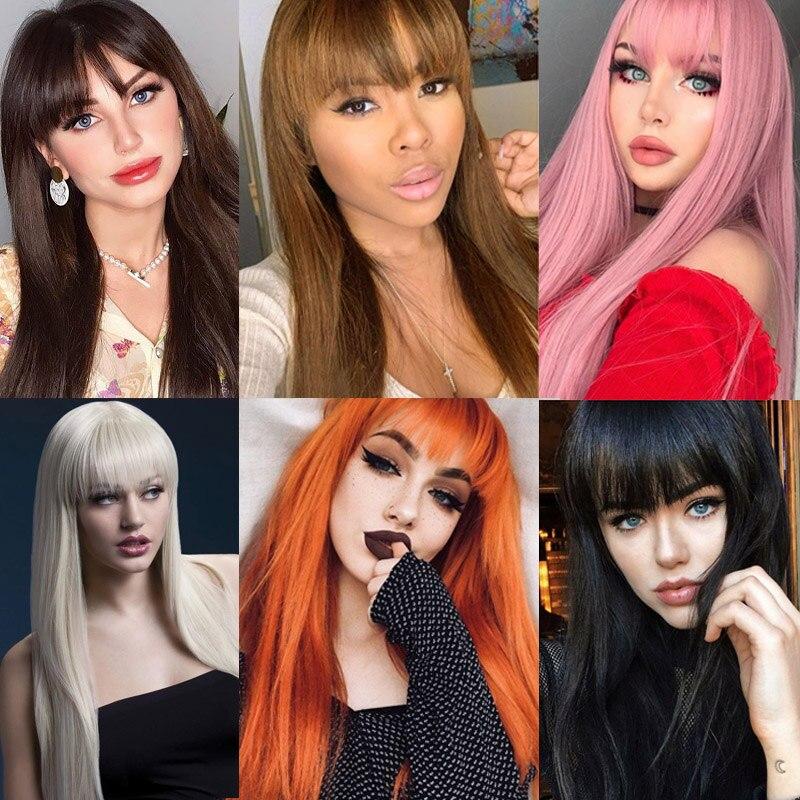 Купить линганг блонд волосы длинные прямые парик с челкой синтетические