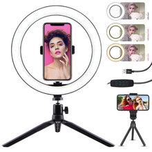 10Inch USB LED Selfie Video Ring Light With Tripod Stand Studio Photography Flash Lamp 3Colors Dimmable Light for Makeup Youtube