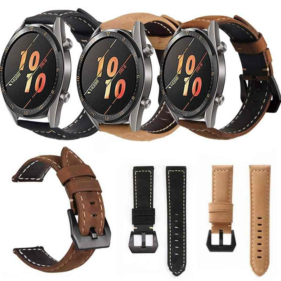 22MM correa de cuero de repuesto para reloj Huawei GT Active Smartwatch banda de muñeca accesorios de vestir hombres mujeres