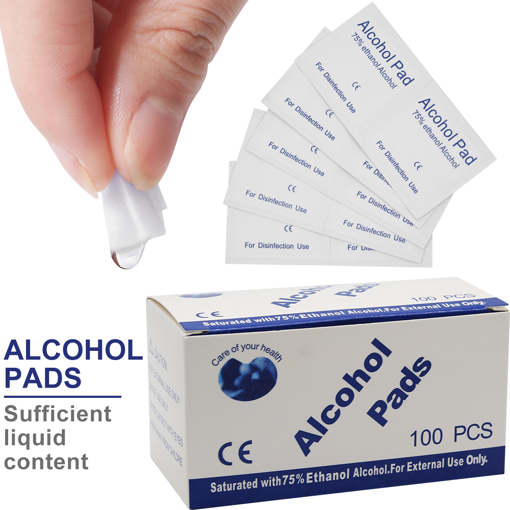100PCS Portable Alcohol Wet Wipe Disposable Disinfection Pad Antiseptic Skin Cleaning Care Clean Wipe Sterilization First Aid