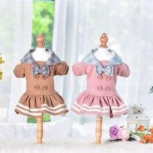 Осенние и зимние теплые платья для домашних собак, две ноги, розовый, желтый, зеленый цвета, размеры s, m, l, Xl, на выбор, юбки, одежда для собак, щенков